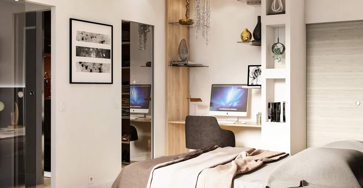 oficina de diseño en una habitación